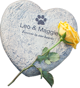 pet loss rock in a heart shape with a yellow flower on top. Leo & Maggie forever in our hearts
